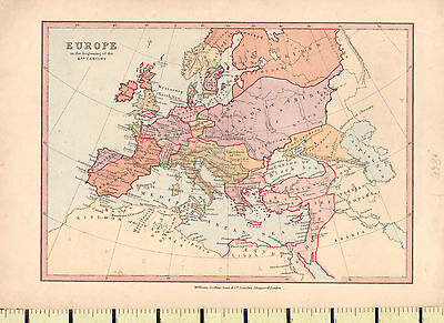 c1880 MAP ~ EUROPE 6th CENTURY ~ BRITAIN FRANKS GOTHS SAXONS DANES