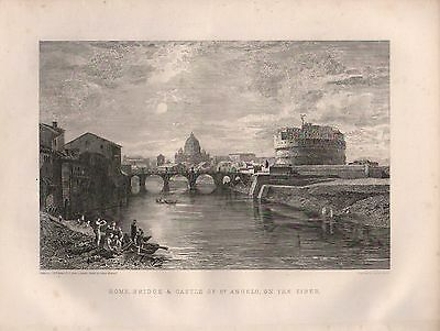 1890 VICTORIAN PRINT ~ ROME BRIDGE & CASTLE OF St ANGELO ON THE TIBER