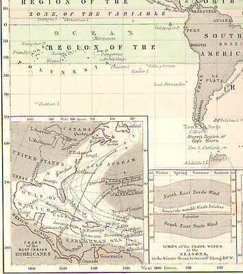 1850 HAND COLOURED MAP ~ CURRENTS of AIR DISTRIBUTION WINDS PERENNIAL HURRICANES
