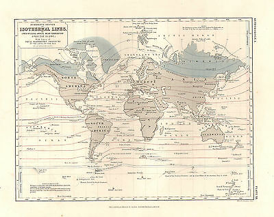 1850 HAND COLOURED MAP ~ ISOTHERMAL LINES HUMBOLDT SYSTEM BAROMETRIC & TEMP etc