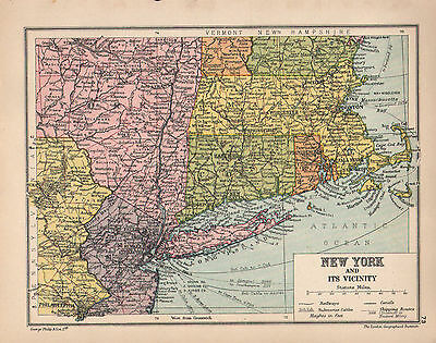 1934 Map ~ New York & Its Vicinity ~
