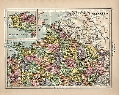 1924 Map ~ France Northern Section ~ Inset Brittany ~