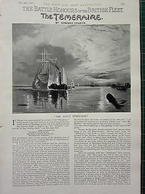 1896 Illustrated Article ~ The Temeraire Battle Ship Navy British Fleet