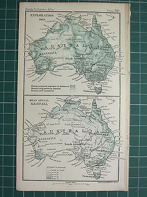 1904 Small Map ~ Australia Showing Exploration (1903) ~ Mean Annual Rainfall