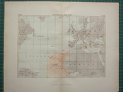 c1890 ANTIQUE MAP ~ SHOWERS OF RED DUST ATLANTIC AFRICA EUROPE ENGLAND