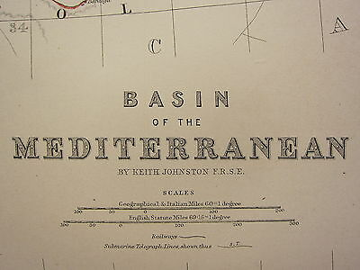 1873 Large Victorian Map ~ Basin Of The Mediterranean Maltese Islands Greece