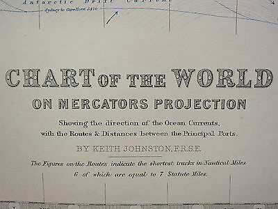 1873 Large Victorian Map Chart Of World Showing Ocean Currents Principal Ports