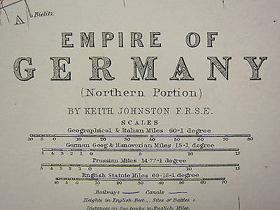 1873 Large Victorian Map ~ Empire Of Germany Northern Portion Hanover Saxony
