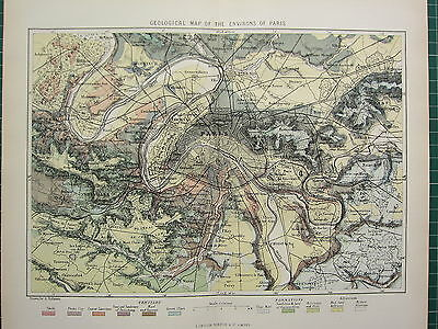 c1890 ANTIQUE MAP ~ PARIS CITY PLAN ENVIRONS GEOLOGICAL CHALK CLAY TERTIARY