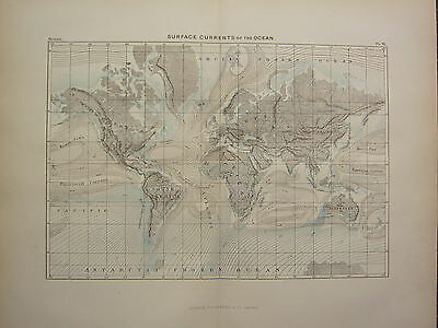 c1890 ANTIQUE MAP ~ THE WORLD SURFACE CURRENTS OF THE OCEAN EQUATORIAL