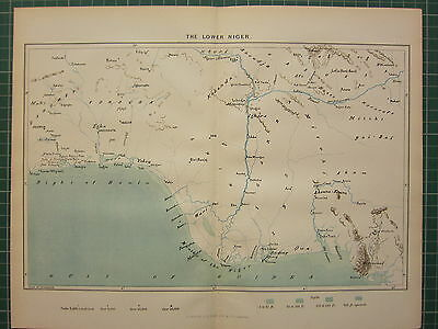 c1890 ANTIQUE MAP ~ THE LOWER NIGER ~ AFRICA ANDONY YOROUBA