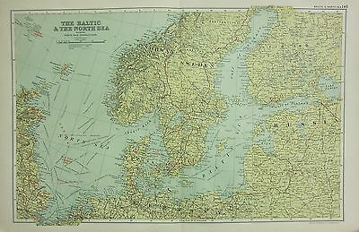 1912 Large Antique Map ~ The Baltic & North Sea ~ Ports & Connections