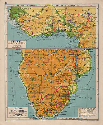 1928 Map ~ British South Africa ~ Guinea Physical & Political
