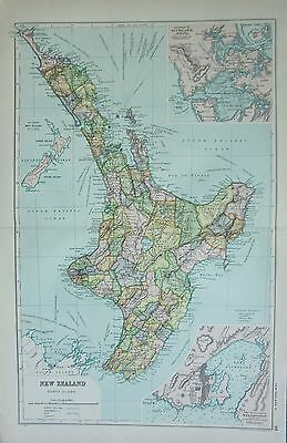 1912 Large Antique Map ~ Newzealand North Island Environs Wellington & Auckland