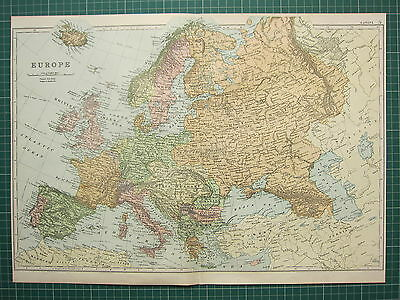 1900 Large Victorian Map ~ Europe ~ British Isles Germany Russia France Italy