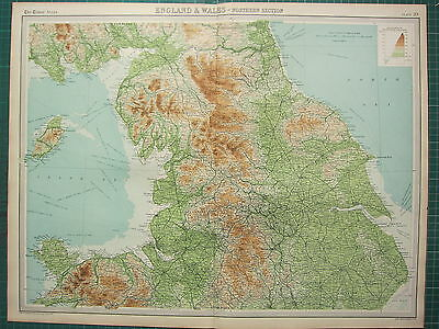 1921 Large Map ~ England & Wales ~ Northern Section Isle Of Man Lancashire