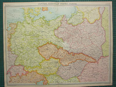 1921 Large Map Central Europe States ~ Political Germany Poland Austria Hungary