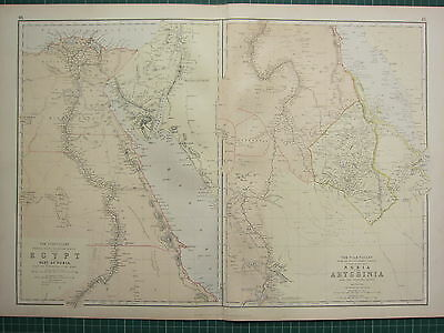1882 Large Antique Map ~ Nile Valley Egypt Sinai Nile Delta Nubia Abyssinia