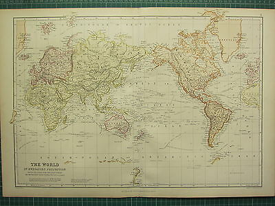 1882 Large Antique Map ~ The World Mercators Projection Ocean Currents Ports