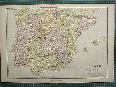 1882 Large Antique Map Spain & Portugal Murcia New Castile Andalusia Balearic