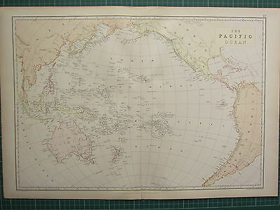 1882 Large Antique Map ~ The Pacific Ocean ~ Australia New Guinea New Zealand