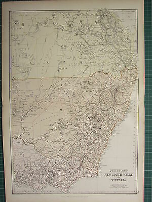 1882 Large Antique Map ~ Australia Queensland New South Wales & Victoria