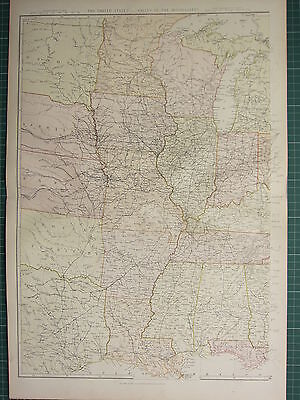 1882 Large Antique Map ~ United States Valley Of Mississippi Western Sheet Iowa