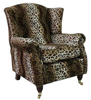 Handmade Ashley Fireside High Back Wing Armchair Animal Print Brown Leopard