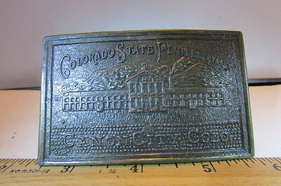 Vintage Brass Belt Buckle Original Canyon City Colorado State Penitentiary