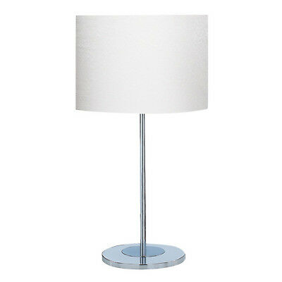 Chrome Round Base Desk Table Lamp With White Fabric Shade Bedside Office Light