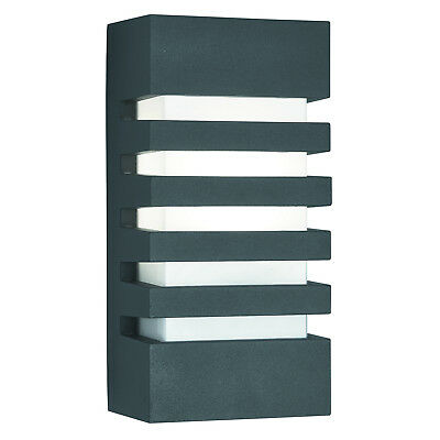 Dark Grey IP44 Grilled Outdoor Exterior Wall Light With Polycarbonate Diffuser