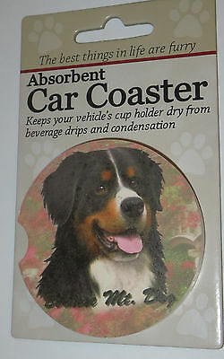 Bernese Mountain Dog Car Coaster Absorbent Keep Cup Holder Dry Stoneware New