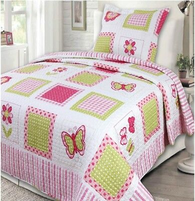 NEW Twin Bed Girls Pink Green White Butterfly Gingham 2 pc Quilt Coverlet Set