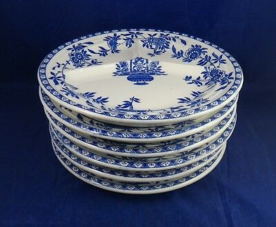 6 Early Delph James M. Shaw Flow Blue Divided Grill Plates Made In England 10.5""