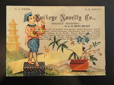 Buckeye Novelty Co. Wholesale Department Victorian Trade Card