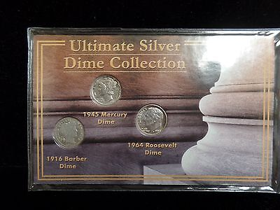 Ultimate Silver Dime Collection 1916, 1945, 1964  .90 Silver