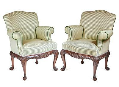 PAIR OF FINE 1920's CARVED WALNUT CLUB ARMCHAIRS