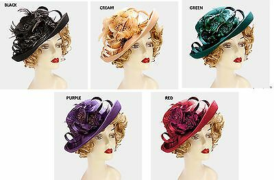 Women's Dressy Flower & Feather Wool Hat Fascinator Wedding Formal - USA Seller