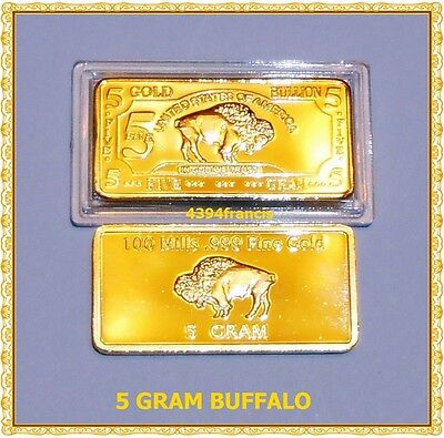Lingot 5 Grammes US BUFFALO Bullion OR 100 mills 999 Fine Gold 24k Plated Bar