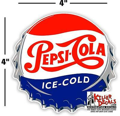 "(Pc-221) 4"" Pepsi Cap  Ice Cold Soda Pop Vending Machine Cooler Or Gumball"