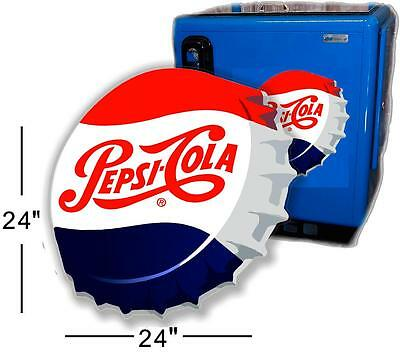 "(Pc-220) 24"" Angled Pepsi Cap For Soda Pop Vending Machine Cooler Or Gumball"