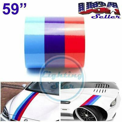 """59"""" M-Colored Stripe BMW Sticker Decal Exterior Racing Cosmetic Hood Roof Bumper"""