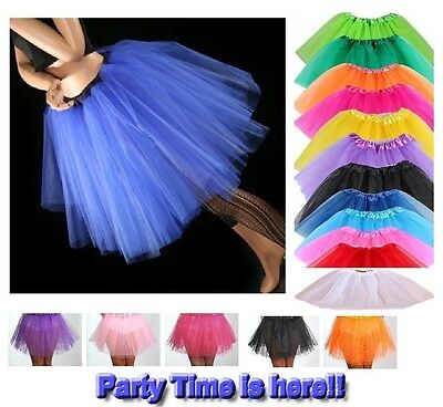 Tutu Skirt Neon Ladies Girls Fancy Party Skirts Dress Up Hen Party 3 Layers UK
