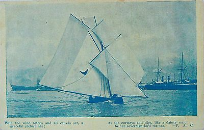 POSTCARD-SYDNEY HARBOUR (?).PUT UP ALL SAIL! A GREAT LITTLE YACHT.EARLY 1900's