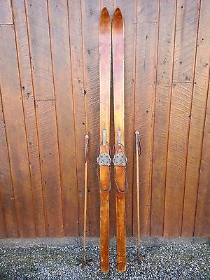 "BEAUTIFUL OLD BLOND PATINA Skis 79"" Long with Metal Bindings + OLD BAMBOO Poles"