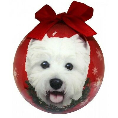 Westie Christmas Ornament West Highland White Terrier Ball Dog Snowflakes Red