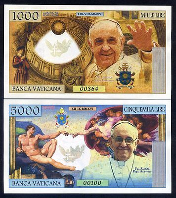 SET Vatican, 1000 - 5000 Lire, 2016 Private Issue Kamberra, UNC > Pope Francis