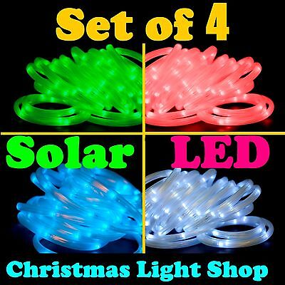 4x SOLAR LED 5m Christmas Ropelight GREEN RED BLUE WHITE Flashing Outdoor Lights
