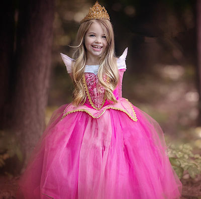 Girls Kids Princess Aurora Sleeping Beauty Cosplay Dress Xmas Halloween Costume