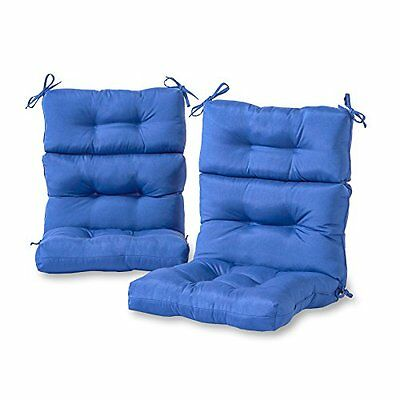Outdoor Patio Cushions High Back Chair Set Of 2 Backyard Furniture Seat Blue